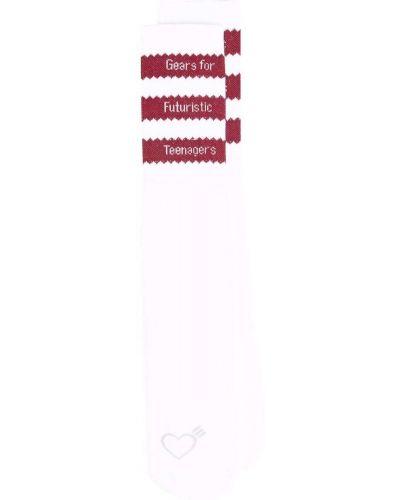 Białe skarpety bawełniane z haftem Adidas