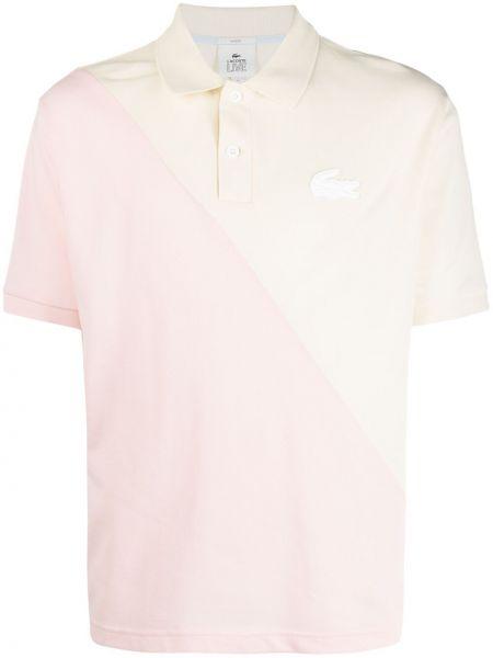 Różowa koszula bawełniana krótki rękaw Lacoste Live