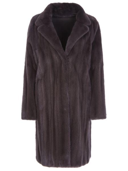 С рукавами шелковое коричневое пальто с воротником Manzoni 24