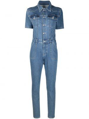 Niebieski kombinezon jeansowy bawełniany krótki rękaw Philipp Plein
