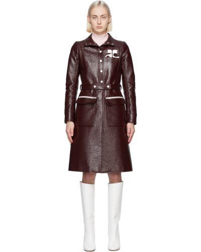 Czerwony długi płaszcz z paskiem srebrny Courreges