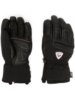 Кожаные черные перчатки с манжетами Rossignol
