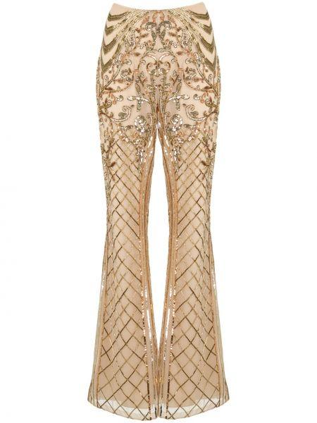 Расклешенные шелковые с завышенной талией брюки Zuhair Murad