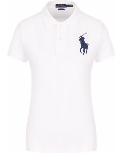 Поло белое на пуговицах Polo Ralph Lauren