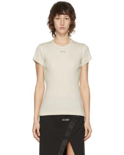 Bawełna fioletowy koszula z krótkim rękawem z kołnierzem krótkie rękawy Off-white