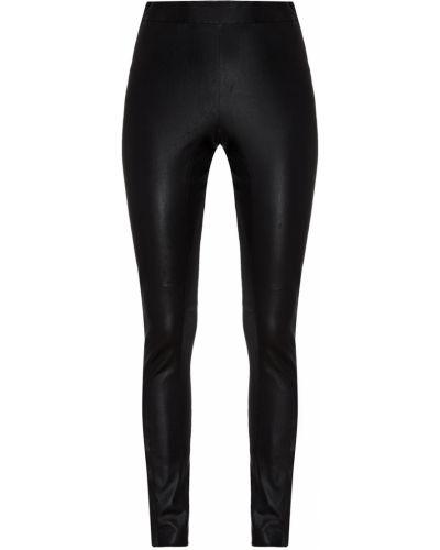 Кожаные черные брюки с разрезом Izeta