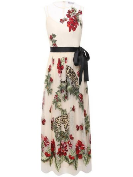 Бежевое итальянское платье с подкладкой Redvalentino