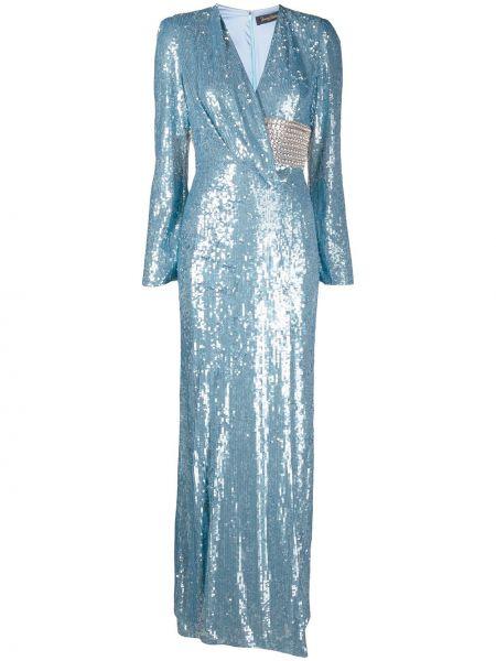 Синее платье макси с запахом с пайетками Jenny Packham