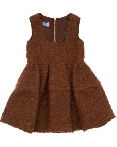 Коричневое платье с мехом Mi.mi.sol.