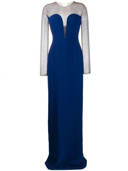 Синее вечернее платье прозрачное с вырезом круглое Stella Mccartney
