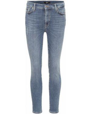 Хлопковые синие зауженные джинсы-скинни с пайетками 7 For All Mankind