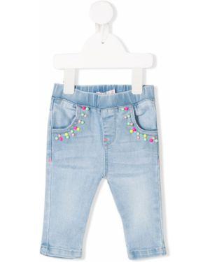 Niebieskie jeansy bawełniane z cekinami Billieblush
