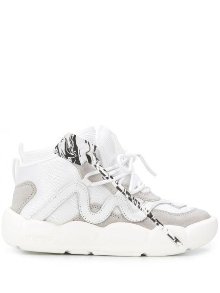 Biały ażurowy buty na pięcie z prawdziwej skóry na pięcie Off-white