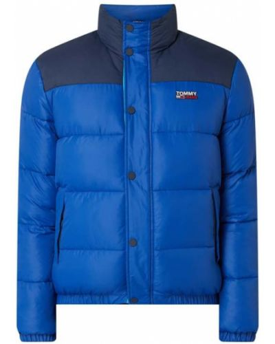Niebieski kurtka jeansowa ze stójką z kieszeniami z zamkiem błyskawicznym Tommy Jeans