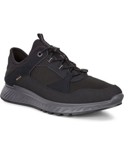 Кожаные черные кроссовки на шнурках Ecco