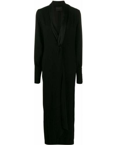 Платье макси с V-образным вырезом с длинными рукавами Erika Cavallini