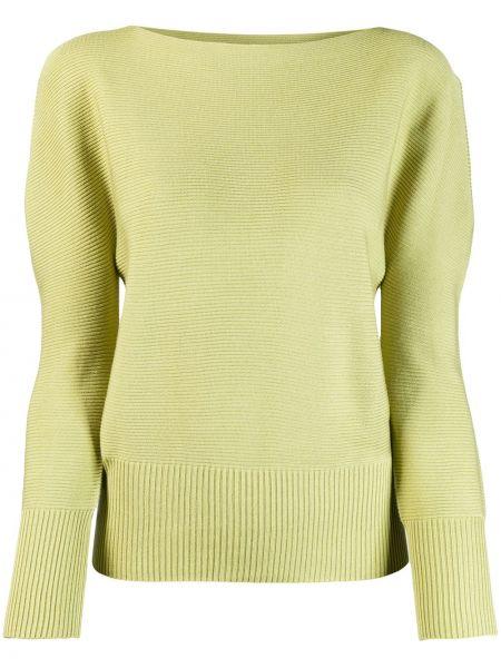 Prążkowana zielona bluza z akrylu 132 5. Issey Miyake