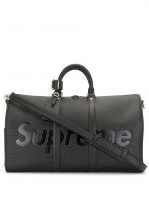 Кожаная черная сумка на плечо винтажная Louis Vuitton