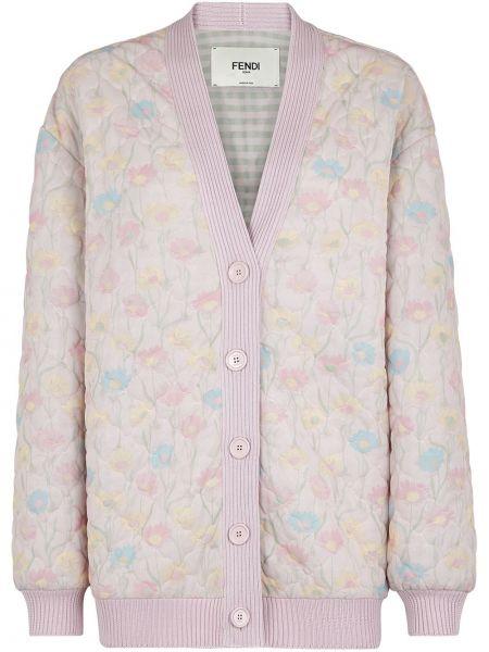 Стеганая куртка на пуговицах с цветочным принтом Fendi