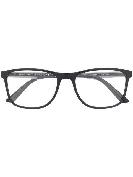 Prosto czarny oprawka do okularów plac wytłoczony Giorgio Armani
