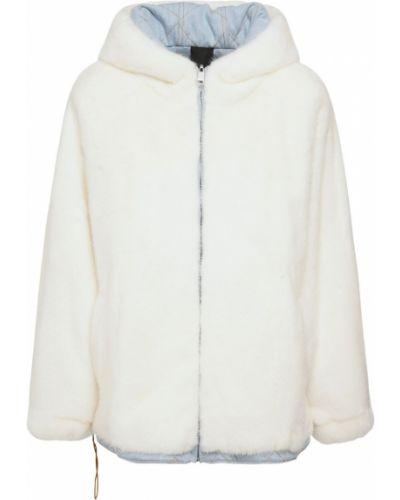 Норковая бежевая куртка двусторонняя с капюшоном Blancha