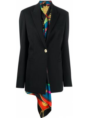 Шерстяной черный пиджак на пуговицах Versace
