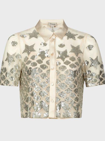 Серебряная блузка из вискозы Temperley London