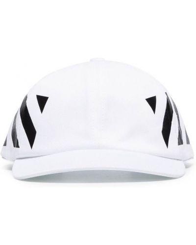 Bawełna bawełna biały czapka z daszkiem z paskami Off-white
