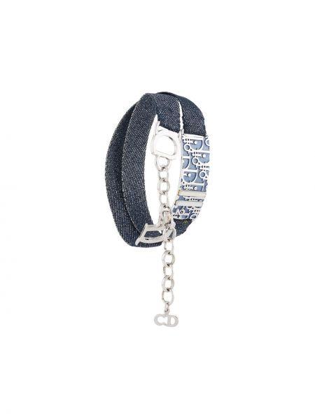 Bawełna z paskiem bawełna niebieski jeansy Christian Dior