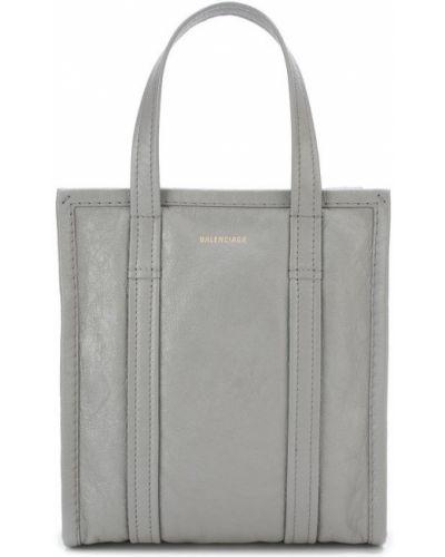 Кожаная сумка через плечо серая Balenciaga