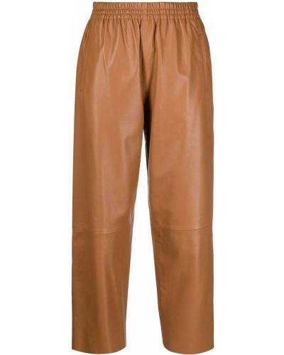 Кожаные коричневые укороченные брюки с накладными карманами Pinko
