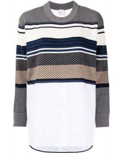 Белый шерстяной длинный свитер в полоску Paul Smith
