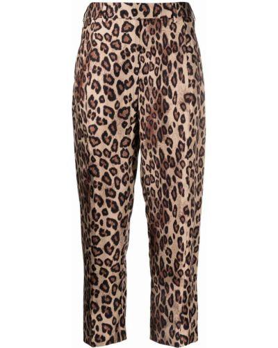 Коричневые шелковые укороченные брюки с карманами Alberto Biani