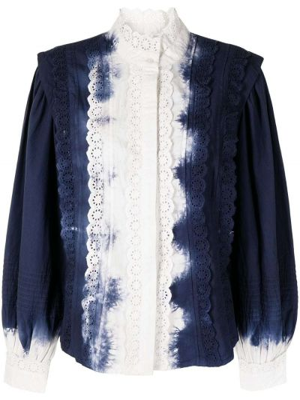 Блузка с вышивкой - синяя Sea