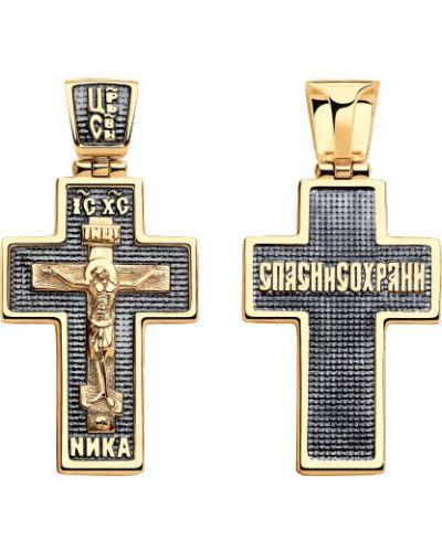 Золотистый черный крест с декоративной отделкой Sokolov