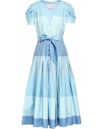 Niebieska sukienka midi rozkloszowana w paski Carolina Herrera