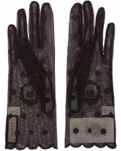 Czarny nylon rękawiczki z mankietami przycięte Gucci
