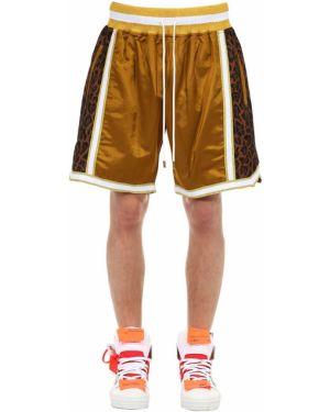 Złote krótkie szorty z haftem do koszykówki Just Don