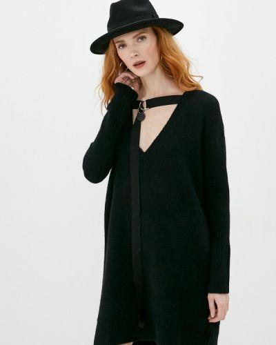 Вязаное трикотажное черное платье Diesel