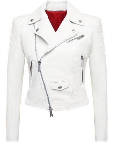 Кожаная куртка из полиэстера - белая Dsquared2
