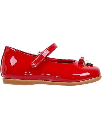 Туфли плоский красные Dolce&gabbana Kids