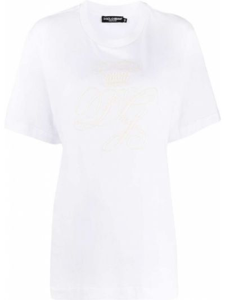 Белая футболка с вырезом с вышивкой Dolce & Gabbana