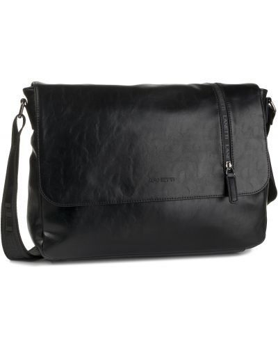 Skórzany torba czarny sztuczna skóra Lanetti
