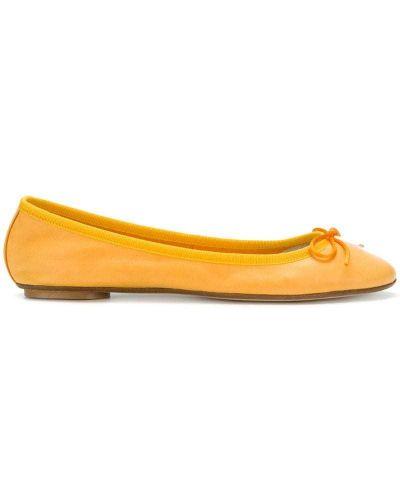 Оранжевые кожаные балетки Anna Baiguera