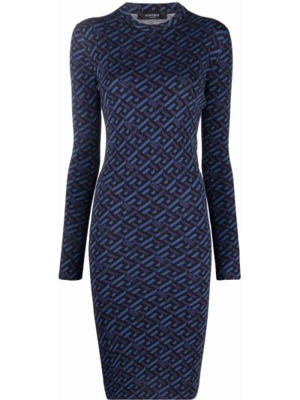 Платье макси с длинными рукавами - черное Versace