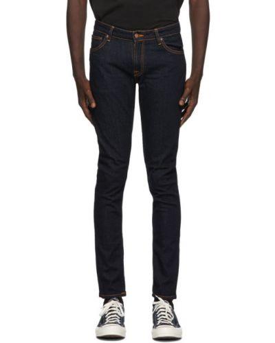 Синие зауженные джинсы-скинни стрейч Nudie Jeans