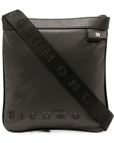 Черная сумка на плечо металлическая на молнии John Richmond