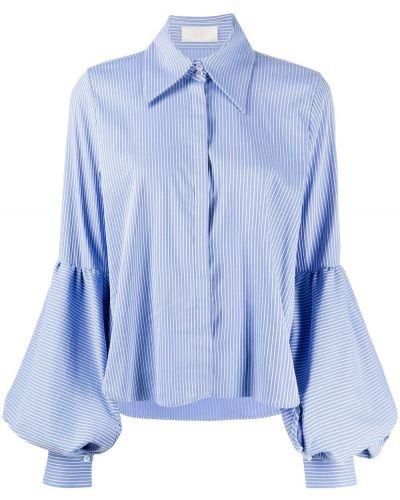 Хлопковая синяя с рукавами классическая рубашка Sara Battaglia
