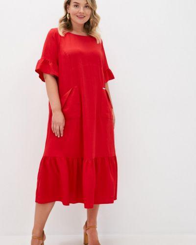 Красное повседневное повседневное платье Intikoma