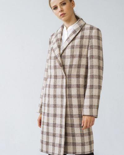 Розовое шерстяное пальто в клетку Vovk